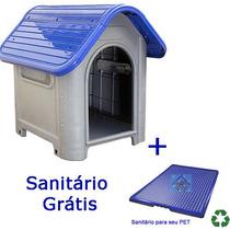 Casinha Plástico Desmontável Cachorro Tam3 Médio Porte Azul