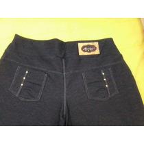 2 Calças Legging Cotton Jeans Preto Tecido Grosso