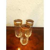 Juego De Tres Vaso De Cristal Con Acabados De Oro