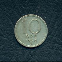Moneda Suecia 1950 Ts 10 Ore Km#813 (plata)