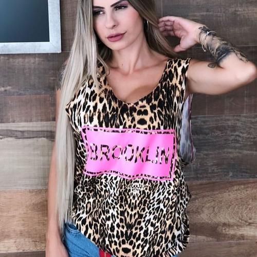 Kit C 3 Regata Feminina Onça Blusa Animal Print Promoção - R  140 f3cf9237f26