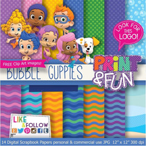 21 Itens Kit Digital Editavel Scrapbook Bubble Guppies