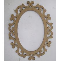Moldura Espelho Oval Arabesco 42cm Mdf