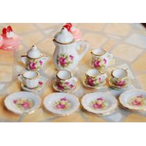Hermoso Juego De Te Miniatura Porcelana Fina M Pink Flower