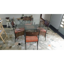 Mesa Jantar Ferro Ratan Quatro Cadeiras Tampo Vidro 8mm
