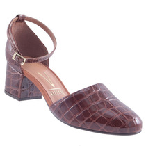 Sapato Scarpin Salto Baixo Vizzano Verniz Croco 1223102