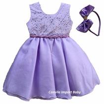 Vestido Princesa Sofia Luxo Festa Infantil Com Tiara
