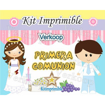 2x1 Kit Imprimible Primera Comunion Niña Y Niño Souvenirs