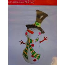 Figura Inflable De Mono De Nieve Con Bufanda Navideno