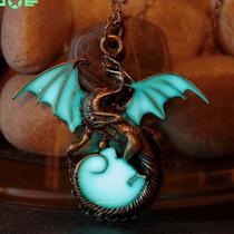 Colar Com Pingente Dragão Medieval Brilha No Escuro Dragon