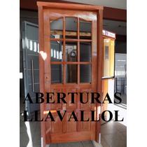 Puerta Cedro Macizo Medio Vidrio Repartido De 80x2.00