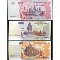 Camboya Lote De 3 Billetes De 50, 100, 500 Riels