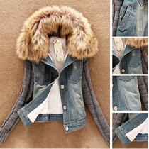 Jaqueta Jeans Feminino Casaco Suéter Pelo Cardigan Blusa Lã