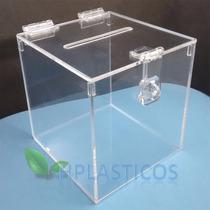 Urna Quadrada De Acrílico Cristal Porta Cupons Caixa Sorteio