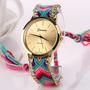 Reloj Pulsera Mujer Malla Tejida Macrame Multicolor