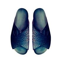 Sandalias Zapatos En Cuero Croco Blanco Negro Talles Grandes