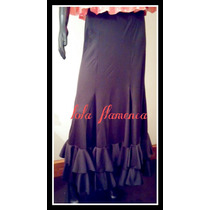 Falda De Baile Flamenco Jersey Con 6 Gajos Y Volados Negro