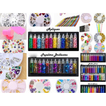 Kit 100% Decoración De Uñas Nails Apliques + 500 Accesorios