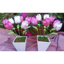 Centros De Mesa Shibby Chic Tulipanes En Tela