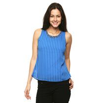 Anna Flynn - Blusa A Rayas Con Pedrería - Azul - 80424
