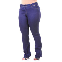 Moda Grande Maior Plus Calça Jeans Stretch Boot Cut