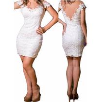 Vestido Renda Clássico Decote Profundo V Festa Detalh Guipir