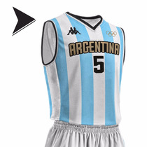 Camiseta Argentina Basquet Titular Kappa Rio 2016 - Est Puan