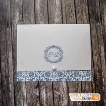 Convite De Casamento Azul Florido Simples E Barato