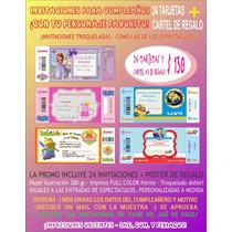 Invitaciones Cumple! Minions Topa Sofia Peppa 24un + Regalo!