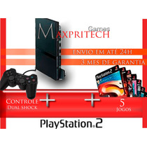 Playstation 2 - Completo +1 Controle+5 Jogos+barato