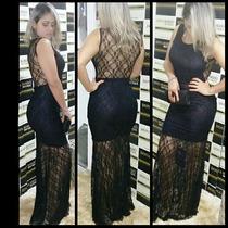 Vestido Longo De Renda Moda Feminina Pmg Pronta Entrega