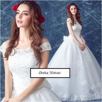 Vestido De Noiva Princesa Barra Bordada Flor Pronta Entrega