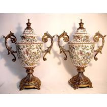 Par De Ânforas Potiches Em Porcelana Europeia E Puro Bronze