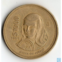 Dos Monedas De 1000 Pesos De 1989 Juana De Asbaje