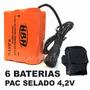 Pac Bateria Extra Farol Led Lanterna Bike 6x 28.800mah 4,2v
