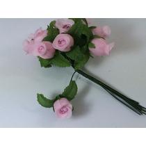 144 Mini Rosas Flores Rosinhas Artificiais Rosa Claro Cetim