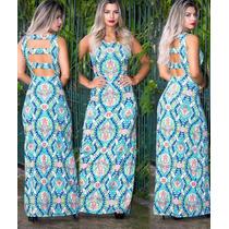 Vestido Estampado Longo Detalhe Nas Costa Nua Verão