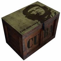 Cajas Baúl Madera Mesa Vintage Mediano Che Guevara Pintados