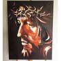 Pintura De Jesus Cristo Em Óleo Sobre Tela - Frete Grátis
