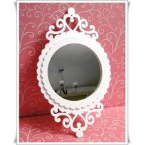 Moldura Espelho Oval Nº 20 Bco Mdf Quadro Parede Decoração