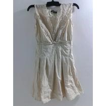 Vestido Color Beige Con Torchon / Encaje Talla S- M