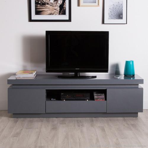 Mesa de television moderna push gris polvo ref century for Mesa para tv con ruedas