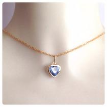 Cordão Feminino 50cm De Ouro 18k E Pingente Coração Azul