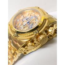 Relógio Invicta 12763 Zeus Bolt Reserve Skeleton Dourado Inv
