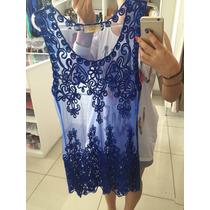 Bata Camisa Transparente Rendada Crochê Novo Modelo