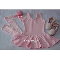 Kit Roupa Uniforme Figurino Ballet Rosa Pink Infantil No Df