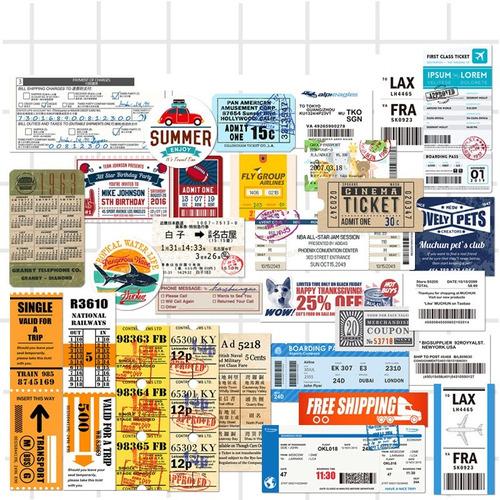 1413a91d45075 Set Calcomanias 28 Stickers Boletos Tickets Cine Bus Avion -   215.00 en  Mercado Libre