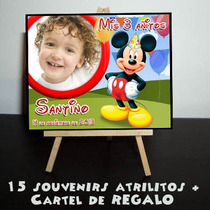 Cumple Mickey Mouse 15 Souvenirs Atrilitos + Cartel Regalo!!