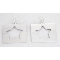 Par De Aretes Plata Ley .925 Cuadro Estrella Lisa