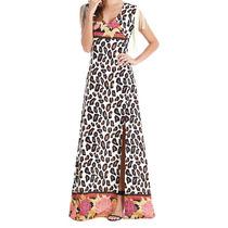 Vestido Longo Estampa De Onça E Floral